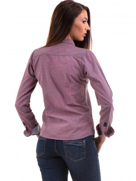 Карирана дамска риза RIV/SD вталена 20145 - тъмно розова B