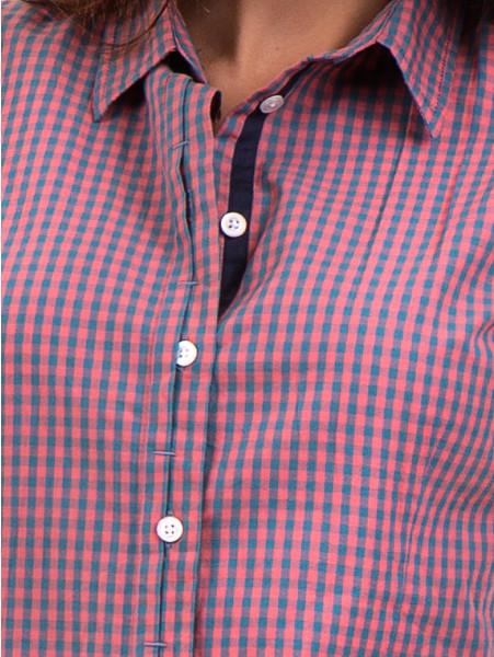Карирана дамска риза RIV/SD вталена 20145 - тъмно розова D