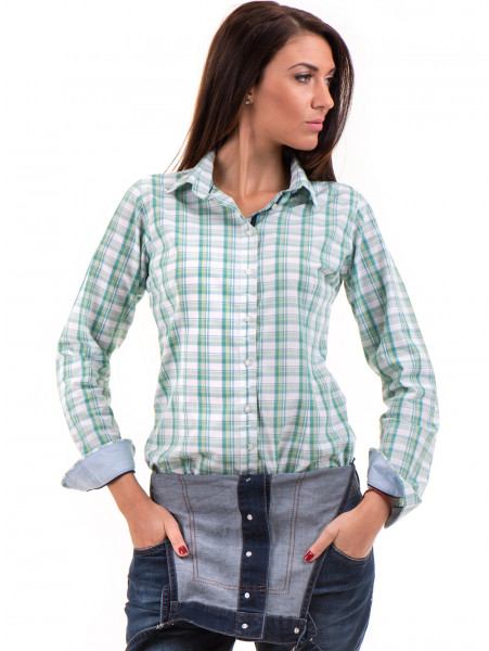Вталена карирана дамска риза RIV/SD 20154 - зелена