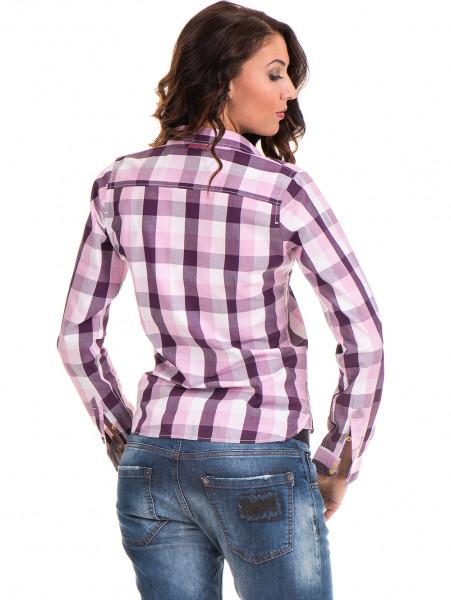 Памучна карирана дамска риза RIV/SD 20155 - лилава B