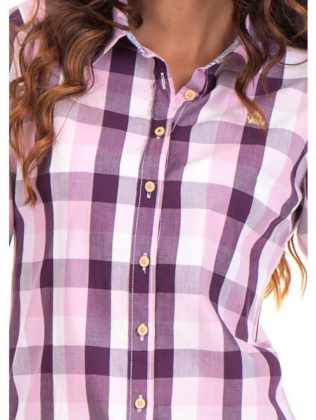 Памучна карирана дамска риза RIV/SD 20155 - лилава D