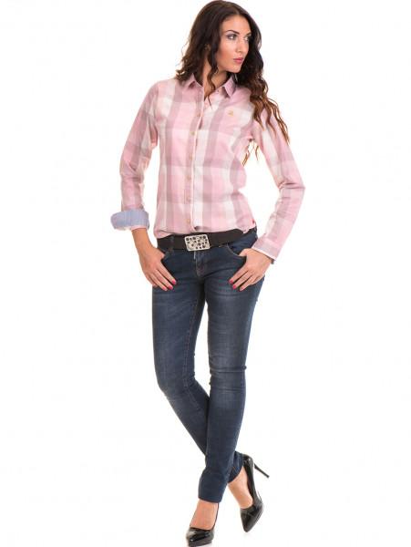 Карирана вталена дамска риза RIV/SD 20160 - светло розова C