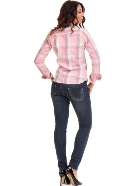 Карирана вталена дамска риза RIV/SD 20160 - светло розова E