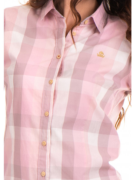 Карирана вталена дамска риза RIV/SD 20160 - светло розова D