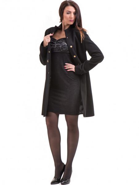 Класическо елегантно дамско палто MODE CLASS 4089 - черно C1