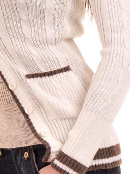 Дамска вталена жилетка MISS POEM 480 - цвят екрю D