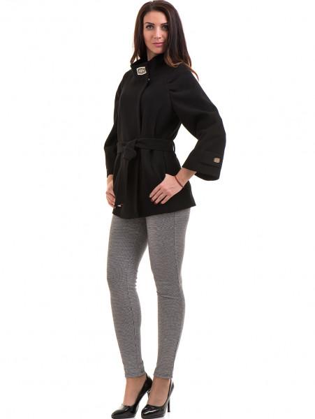 Елегантно късо дамско палто ICON с колан 9219 - черно C