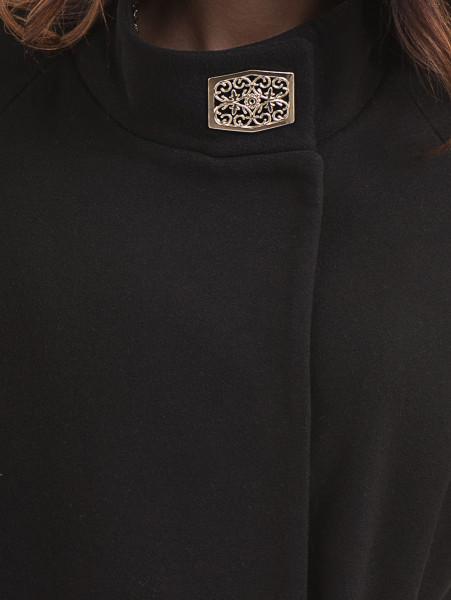 Елегантно късо дамско палто ICON с колан 9219 - черно D