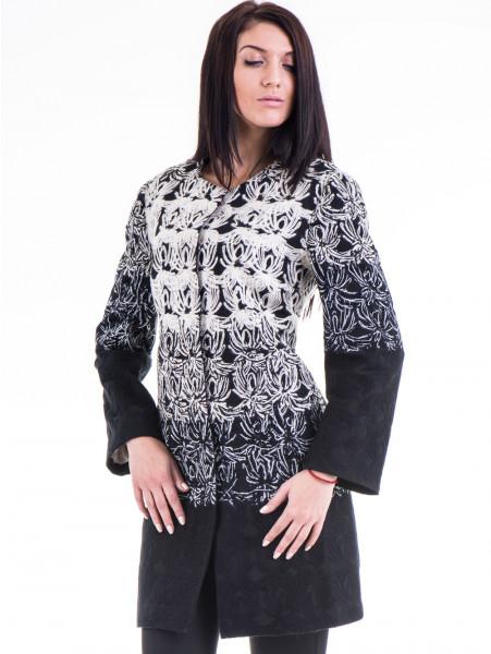 Елегантно дамско палто с шевици JOY MISS 70570 - черно