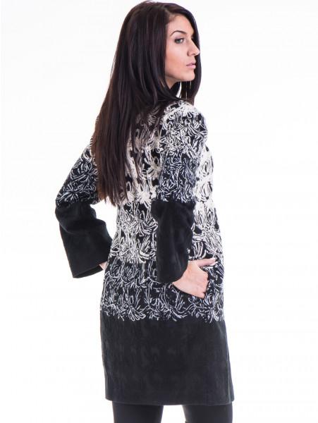 Елегантно дамско палто с шевици JOY MISS 70570 - черно B