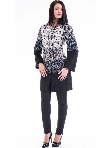 Елегантно дамско палто с шевици JOY MISS 70570 - черно C
