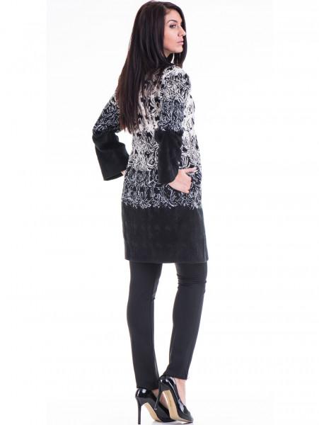 Елегантно дамско палто с шевици JOY MISS 70570 - черно E