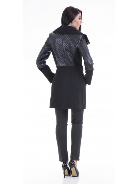 Елегантно вталено дамско палто JOY MISS 70571 - черно B