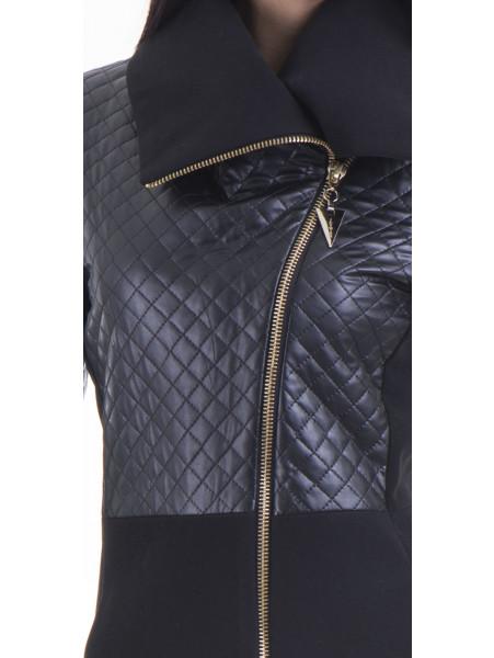 Елегантно вталено дамско палто JOY MISS 70571 - черно D