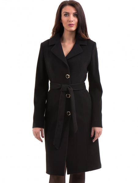 Класическо елегантно дамско палто MODE CLASS с колан 4086 - черно