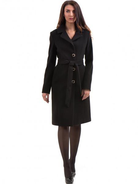 Класическо елегантно дамско палто MODE CLASS с колан 4086 - черно C