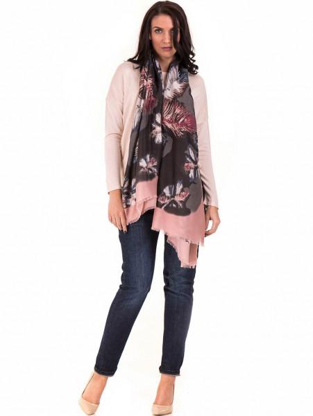 Дамски шал в многоцветен принт INDIGO 10168 - цвят пудра C1