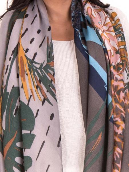 Дамски шал с абстрактна шарка INDIGO 9350 - сив D