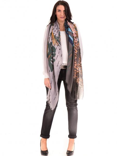 Дамски шал с абстрактна шарка INDIGO 9350 - сив