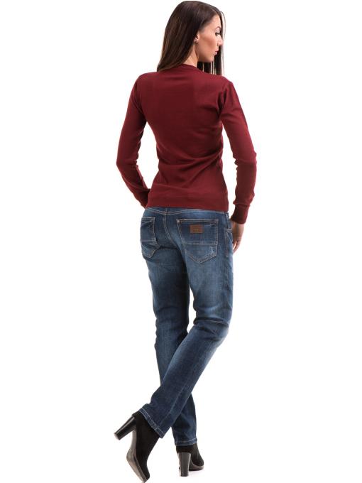 Дамски дънки бойфренд модел APPLAUSE FASHION 200 с колан - тъмен деним E