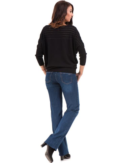 Класически дамски дънки LACARINO 4045 с колан - тъмен деним 1 E