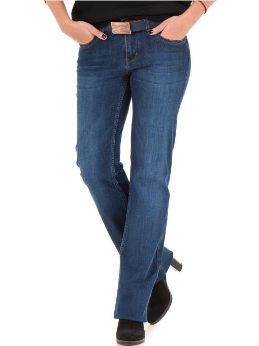 Класически дамски дънки LACARINO 4045 с колан - тъмен деним 1