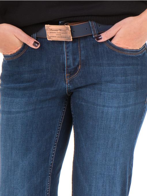 Класически дамски дънки LACARINO 4045 с колан - тъмен деним 1 D