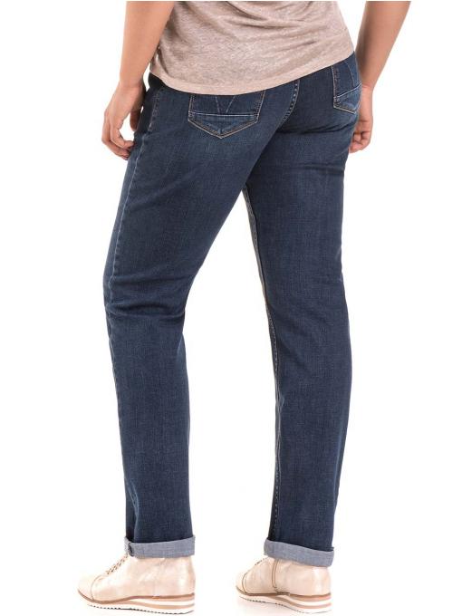 Дамски дънки бойфренд модел LACARINO B3545 с колан - тъмен деним