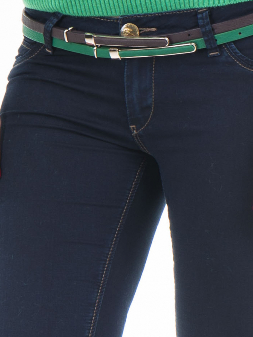 Зелен дамски колан от еко кожа с метални елементи 1316 INDIGO Fashion