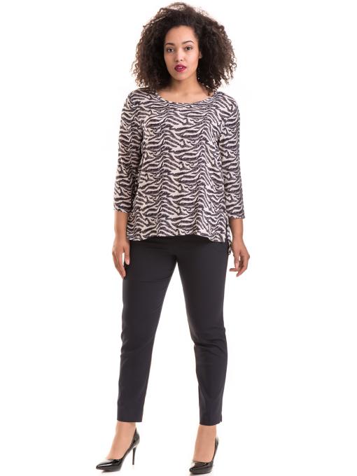 Дамски елегантен панталон F.L.M с колан 527- тъмно син C