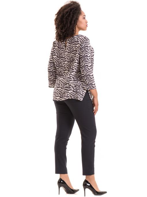Дамски елегантен панталон F.L.M с колан 527- тъмно син E