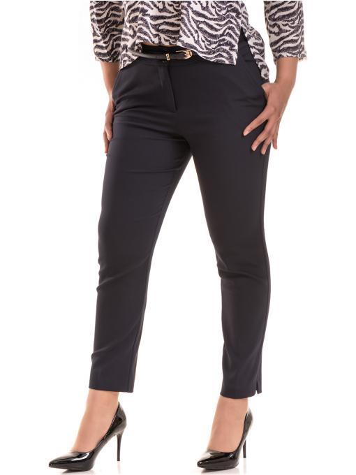 Дамски елегантен панталон F.L.M с колан 527 - тъмно син