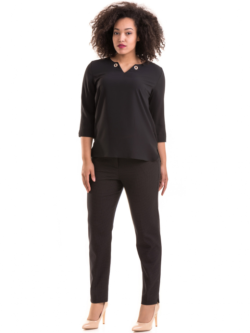 Дамски елегантен панталон F.L.M с колан 531 - черен C
