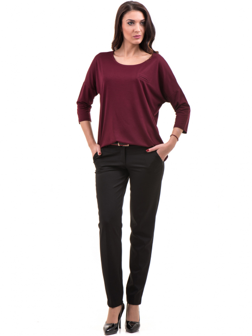 Дамски панталон F.L.M с колан 654 - черен C