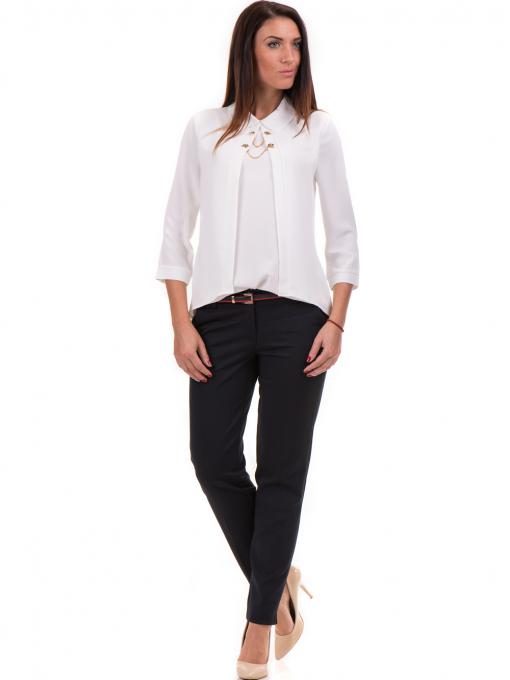 Дамски панталон F.L.M с колан 654 - тъмно син C