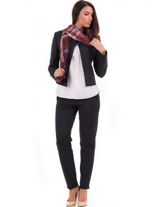 Дамски панталон F.L.M с колан 654 - тъмно син