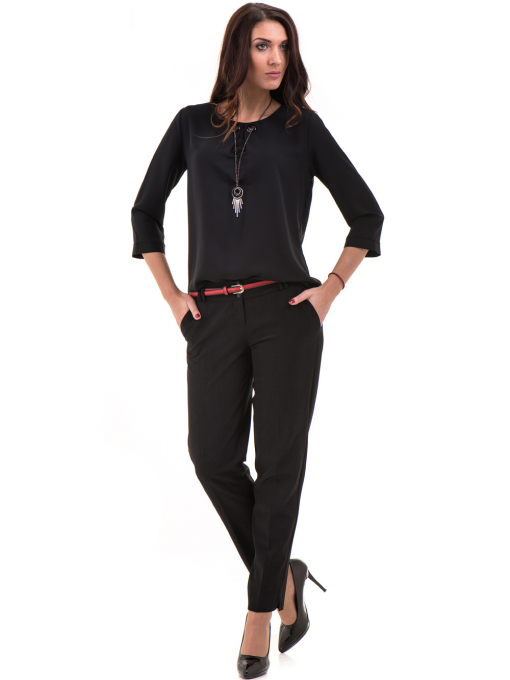 Дамски панталон F.L.M с колан 655- черен C