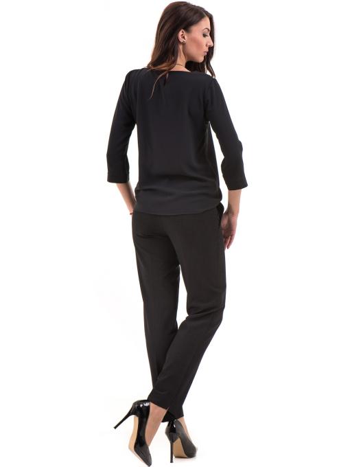Дамски панталон F.L.M с колан 655- черен E
