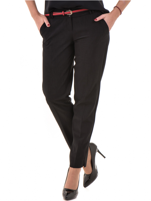 Дамски панталон F.L.M с колан 655- черен