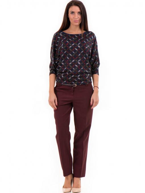 Дамски панталон F.L.M с колан - бордо C