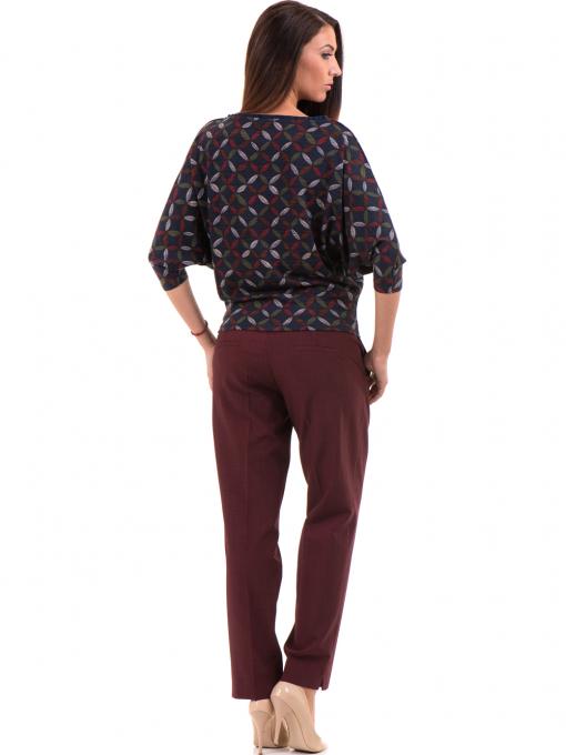Дамски панталон F.L.M с колан - бордо E
