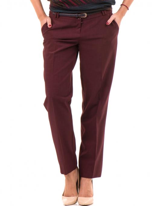 Дамски панталон F.L.M с колан - бордо