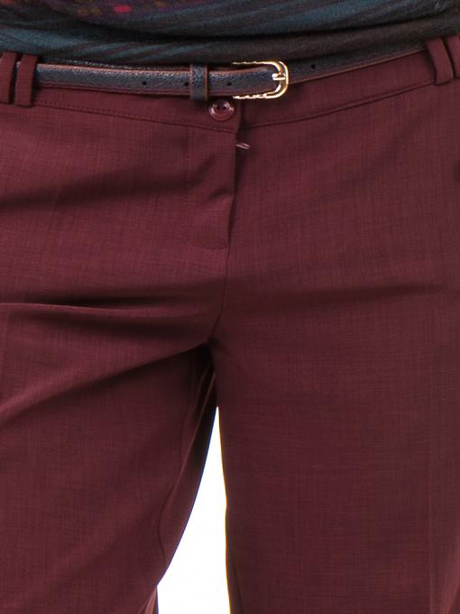 Дамски панталон F.L.M с колан - бордо D