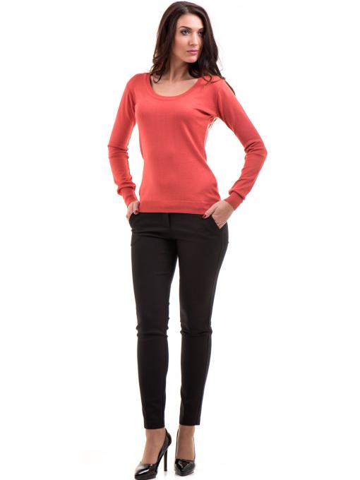 Дамски слим фит панталон F.L.M с колан 659 - черен C