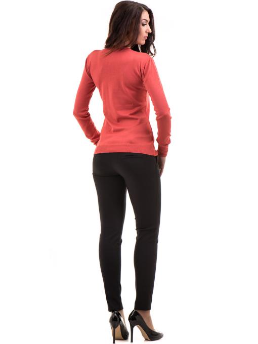 Дамски слим фит панталон F.L.M с колан 659 - черен E