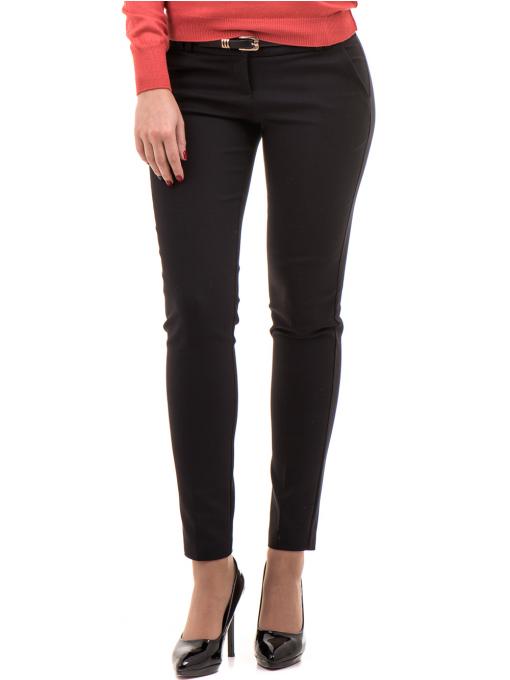 Дамски слим фит панталон F.L.M с колан 659 - черен