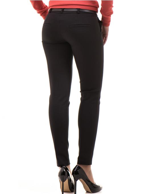 Дамски слим фит панталон F.L.M с колан 659 - черен B