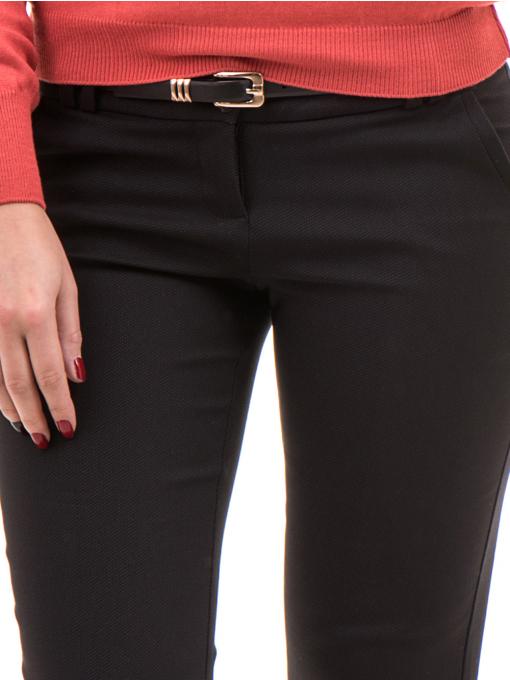 Дамски слим фит панталон F.L.M с колан 659 - черен D