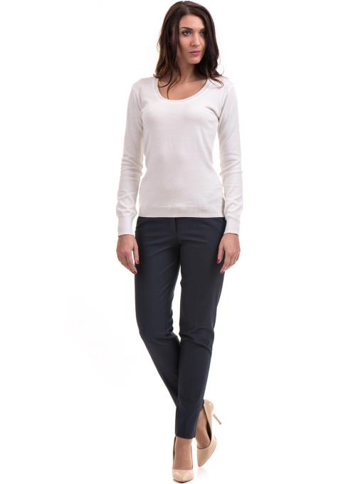 Дамски панталон F.L.M с колан 667 - тъмно син C