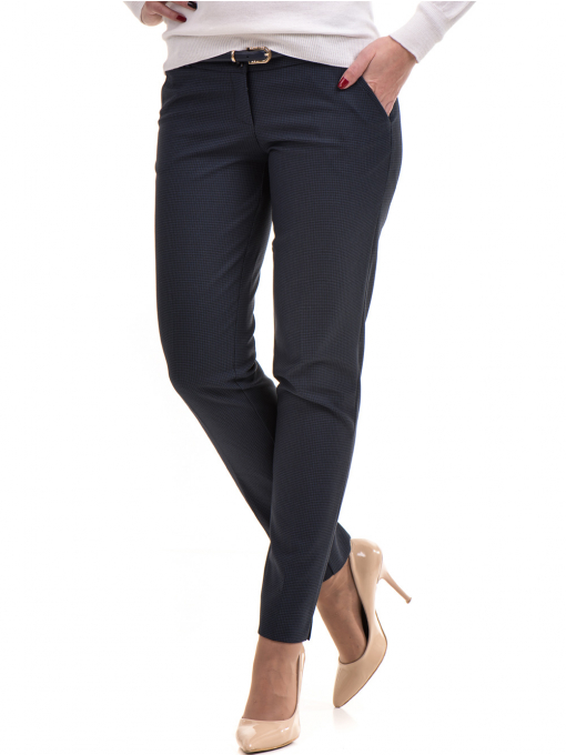 Дамски панталон F.L.M с колан 667 - тъмно син